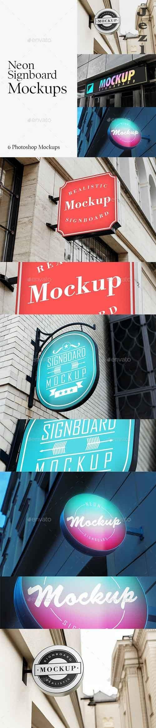 6 Neon Signboard Mockups 28700015