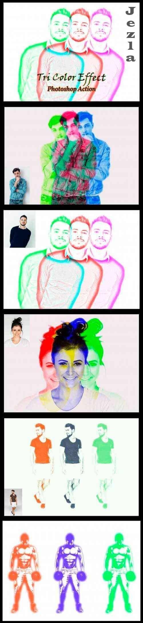 Tri Color Effect Photoshop Action 4834996