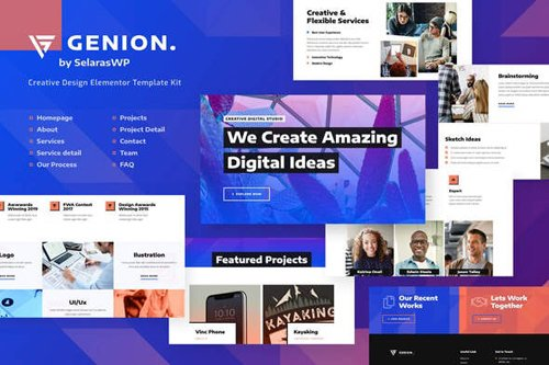 ThemeForest - Genion v1.0 - Creative & Design Elementor Template Kit - 28316627