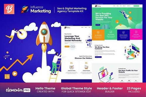 ThemeForest - Influence Marketing v1.0 - SEO & Digital Agency Elementor Template Kit - 28718806