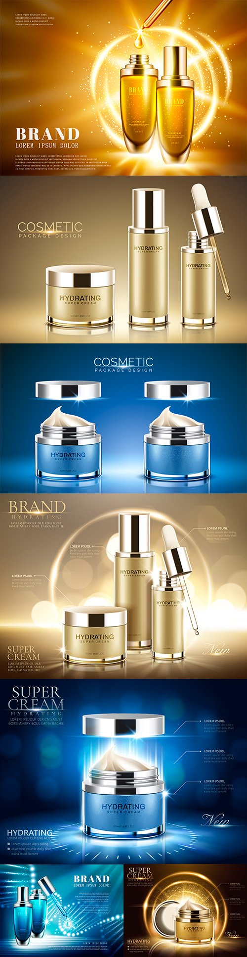 Advertising beauty products with sparkling lights illustration