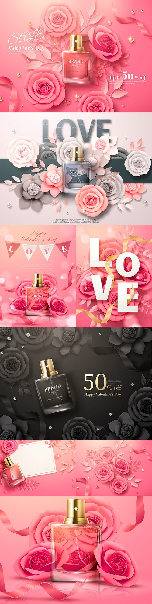 Perfume advertising with pink paper colors 3d illustrations