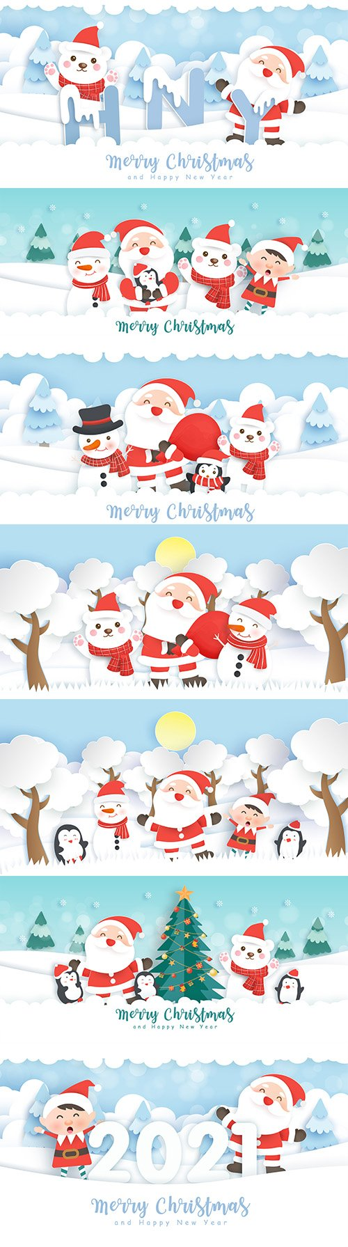 Christmas and New Year's Eve banner with Santa Claus and friends