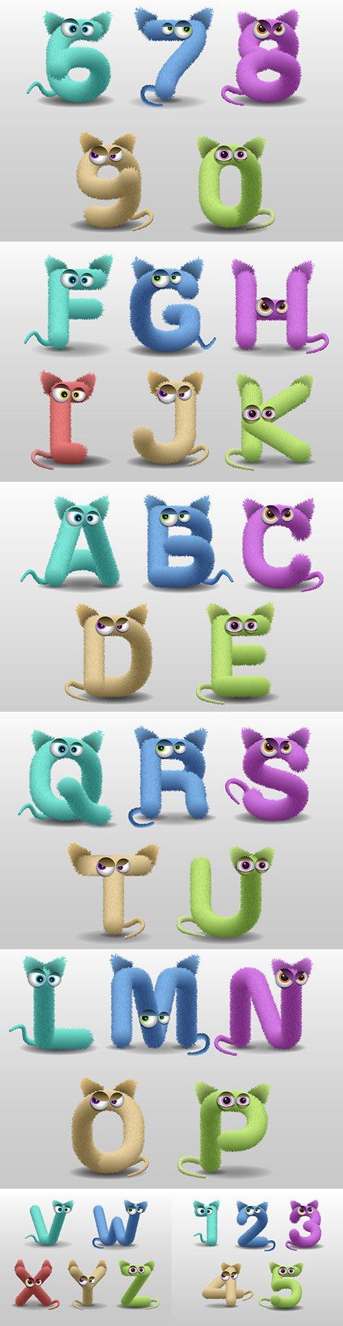 Fur monster cartoon cute alphabet with chicks