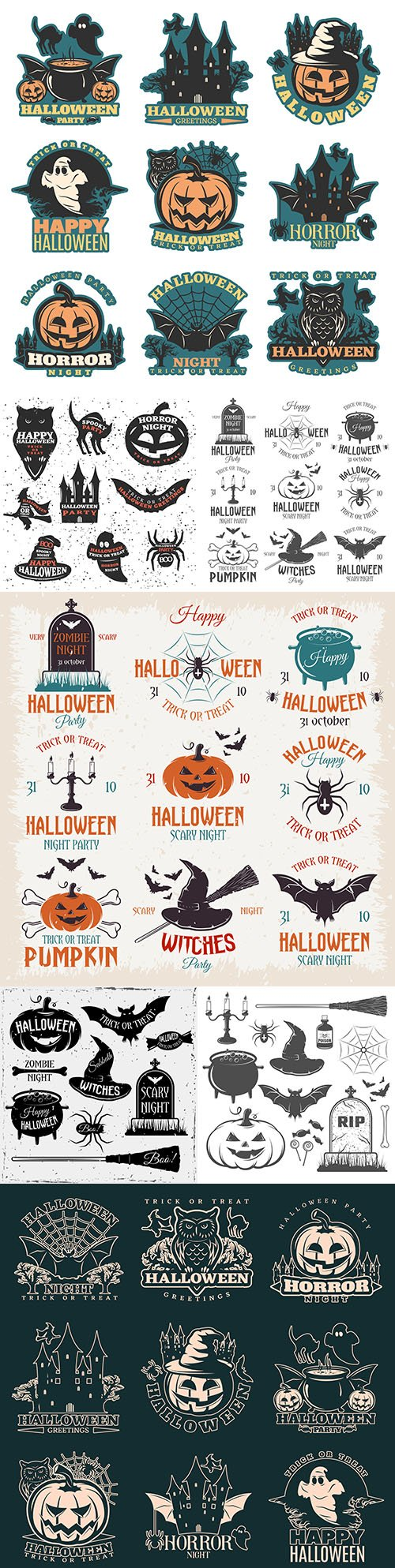 Halloween holiday elements and painted illustration emblems