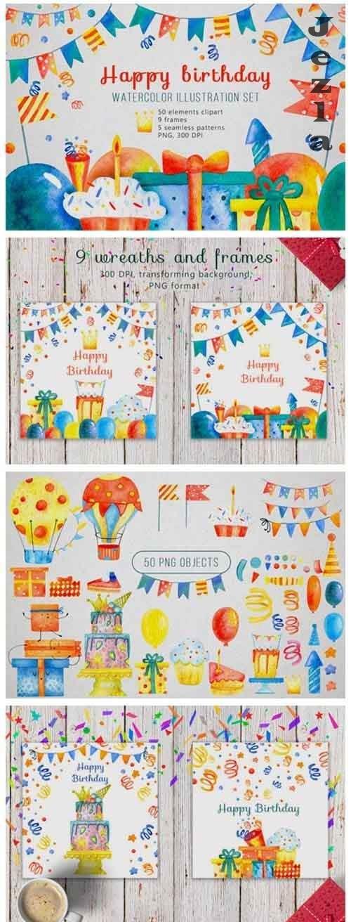 Happy birthday watercolor set - 4269864