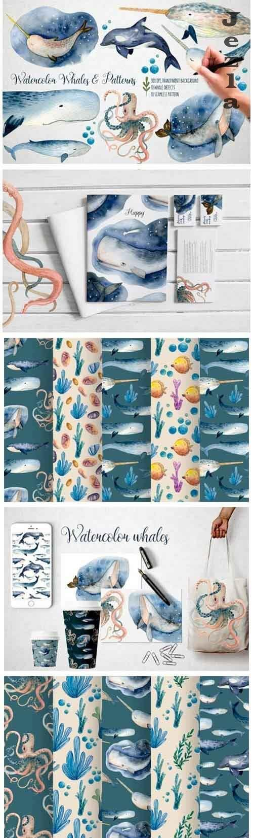 Watercolor Whales & Patterns - 5228352