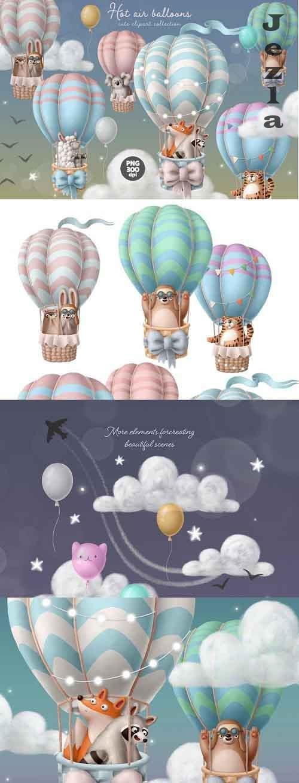 Hot air balloon with animals cute clipart set digital image - 929868