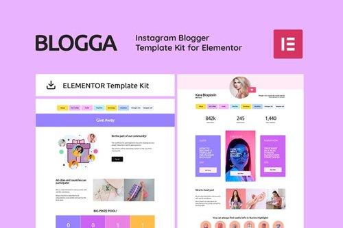 ThemeForest - BLOGGA v1.0 - Instagram Blogger Elementor Template Kit - 28363197