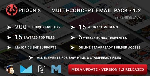 ThemeForest - PHOENIX v1.2 - Multi-Concept Responsive Email Pack with Online StampReady & Mailchimp Builders - 19655041