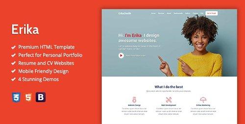 ThemeForest - Erika v1.0 - HTML Template For Online Portfolio, CV And Resume Websites - 28747319