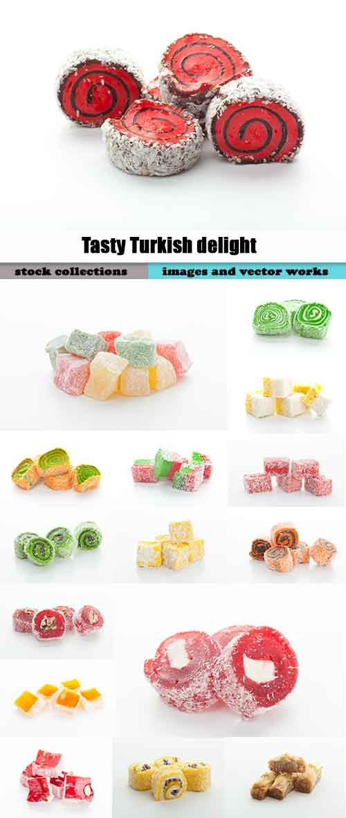 Tasty Turkish delight isolated on white 3