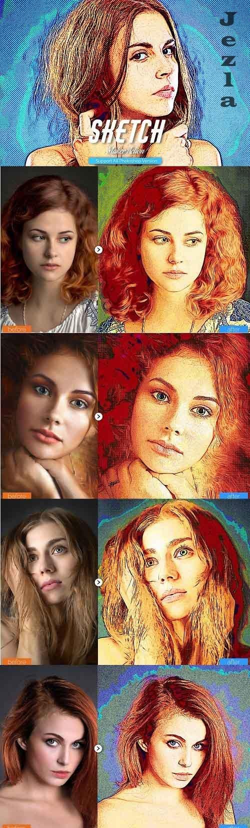 Color Sketch Photoshop Action - 5467192