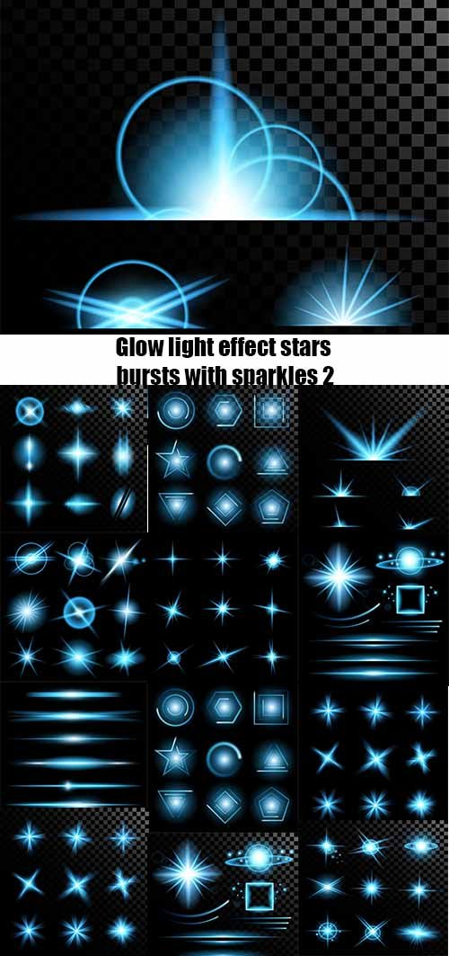 Vector set of glow light effect stars bursts with sparkles 2
