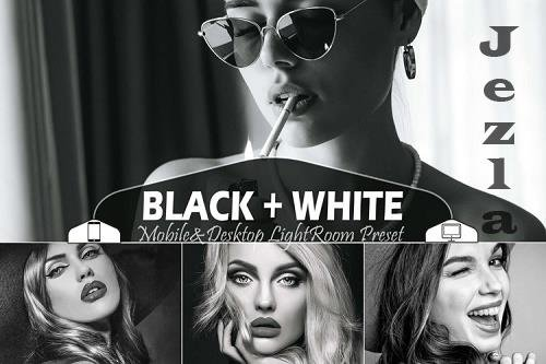 18 Black White Mobile & Desktop Lightroom Presets B&W Filter - 827424