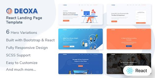 ThemeForest - Deoxa v1.0 - React Landing Page Template - 27744344