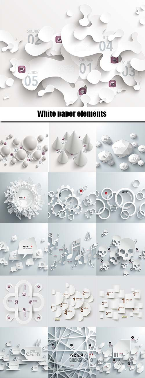 White paper elements in vector 23xEPS