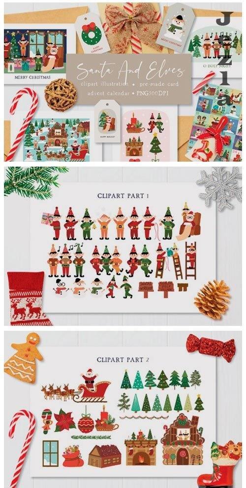 Santa and Elves Clipart Illustration - 5469402