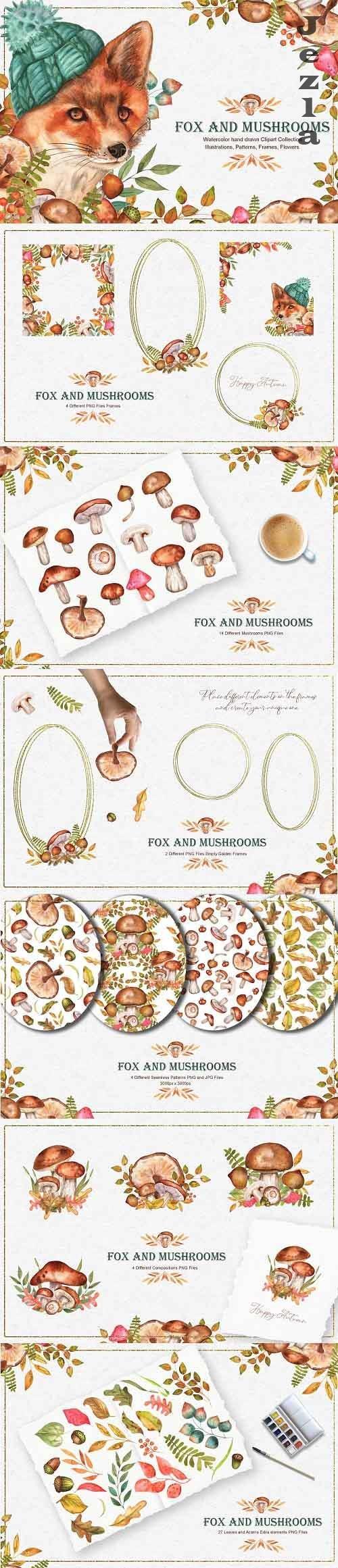 Fox and Mushrooms Watercolor Set - 5478573