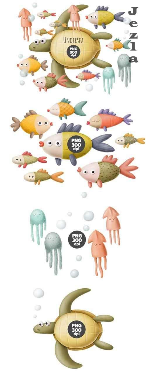 Under the sea clipart, sea creatures - 938514