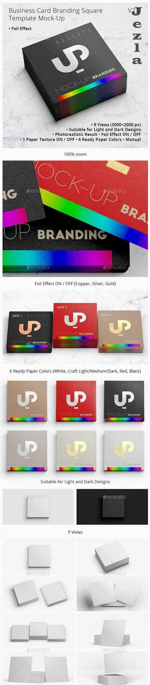 Business Card Branding with Foil effect Square Template Mock-Up V2.0 28422485