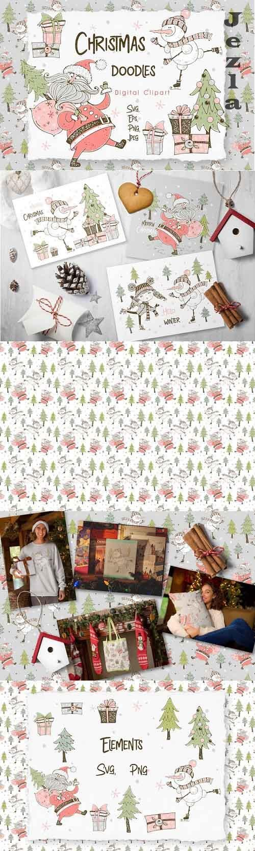 Santa Claus and the merry snowman, Christmas digital clipart - 955130