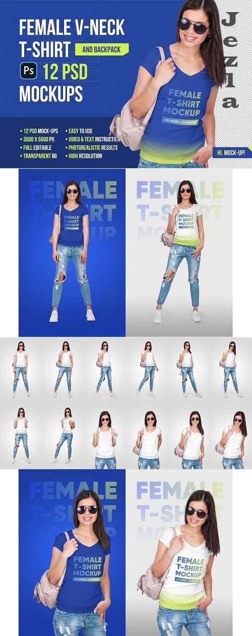 Female V-Neck T-Shirt Mockup 5336811