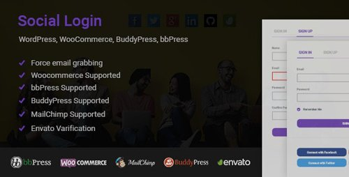 CodeCanyon - Social Login for WordPress WooCommerce BuddyPress bbPress v1.6.0 - 18981588