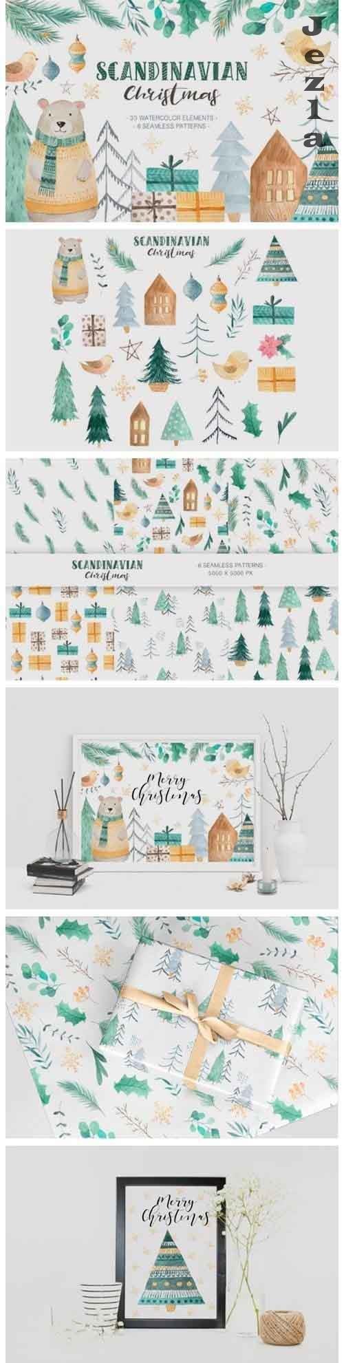 Scandinavian Watercolor Christmas - 2031626