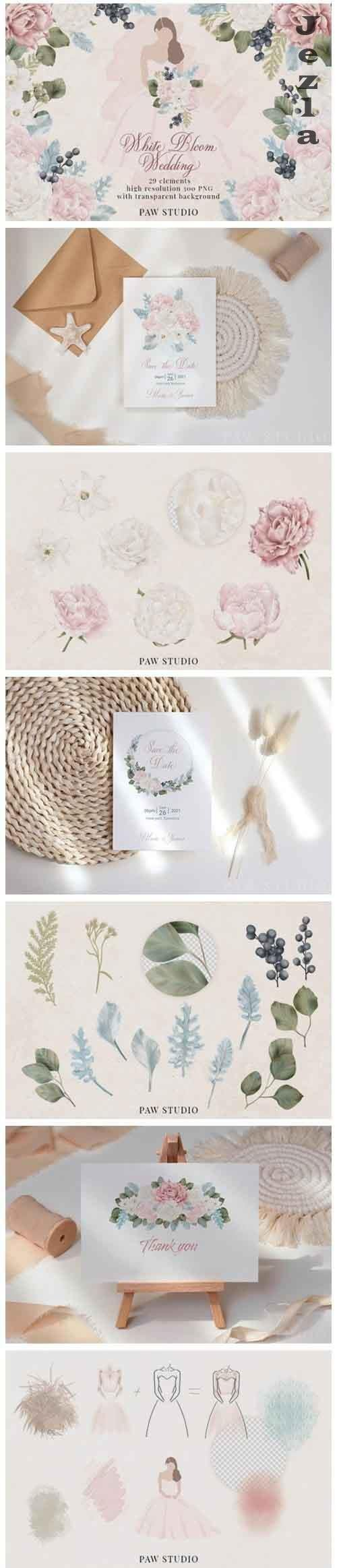 White Pink Flowers Winter Leaves Wedding - 957122