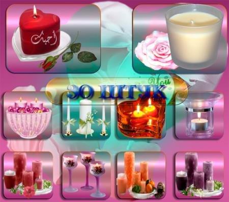 Png клипарты для фоторамки - Праздничные свечи