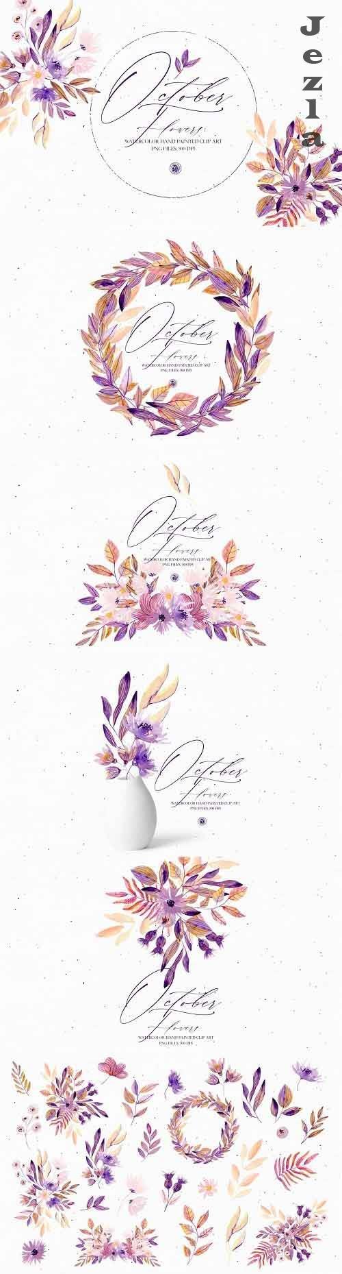 Watercolor set - October Flowers - 5483912