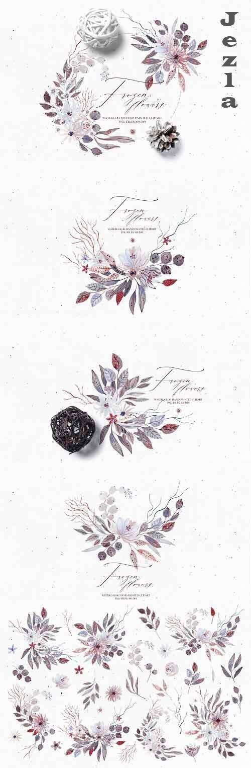 Watercolor set - Frozen Flowers - 5489775
