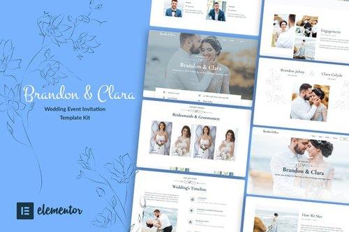 ThemeForest - Brandon & Clara v1.0 - Wedding Event Invitation Elementor Template Kit - 28382661