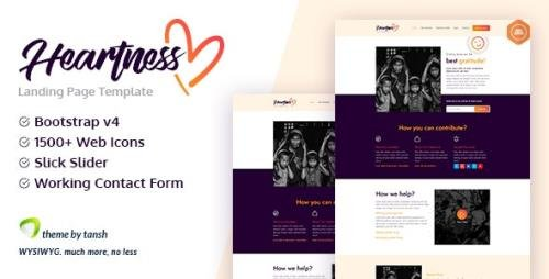 ThemeForest - Heartness v1.0 - Fundraising / Donation Landing Page (Update: 17 October 20) - 461011
