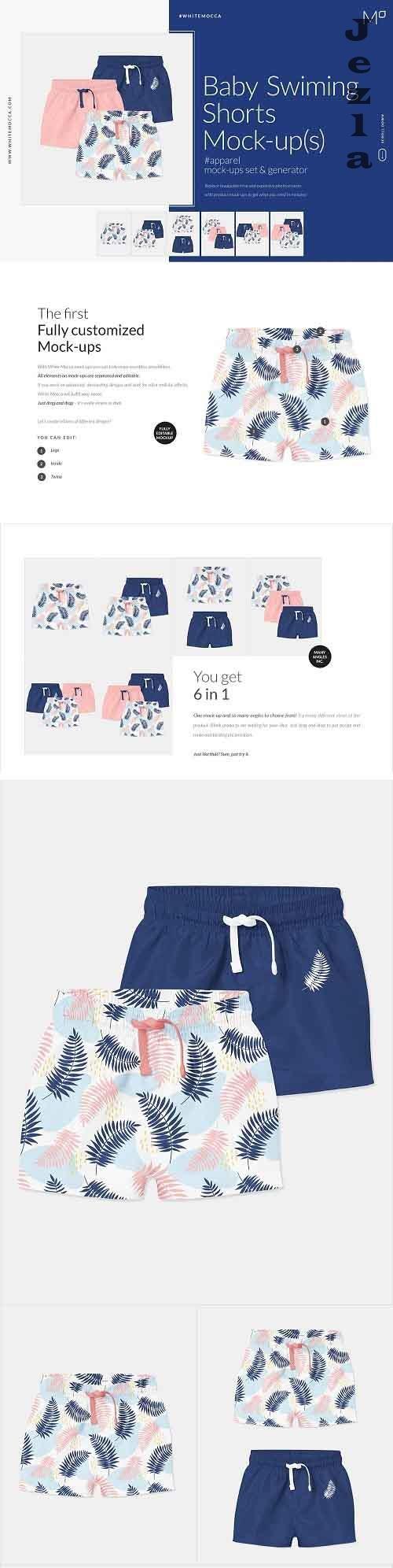 Baby Swimming Shorts Mock-ups Set 4543564