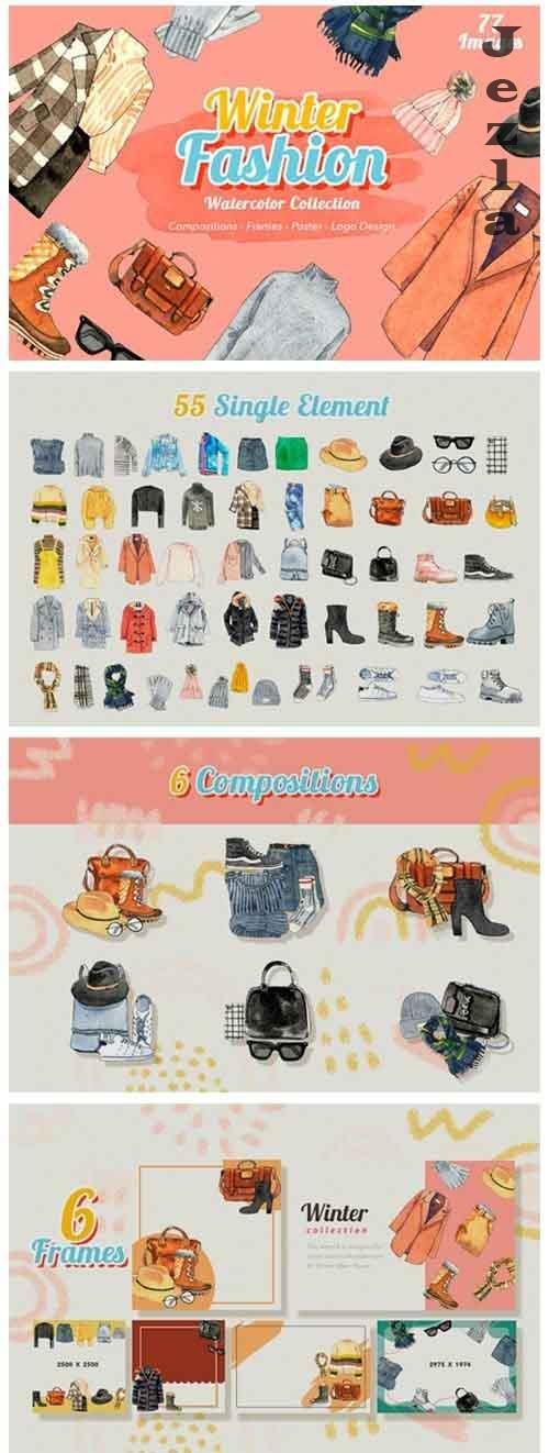 Winter Fashion Watercolor - 5480282