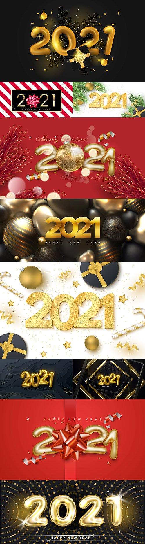 2021 New Year's illustrations Festive design inscription 3