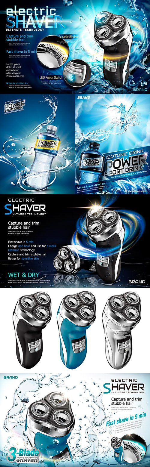Illustration of advertising electric shaver and sports drinks