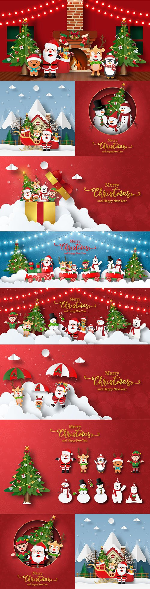 Christmas holiday greetings Santa and friends design
