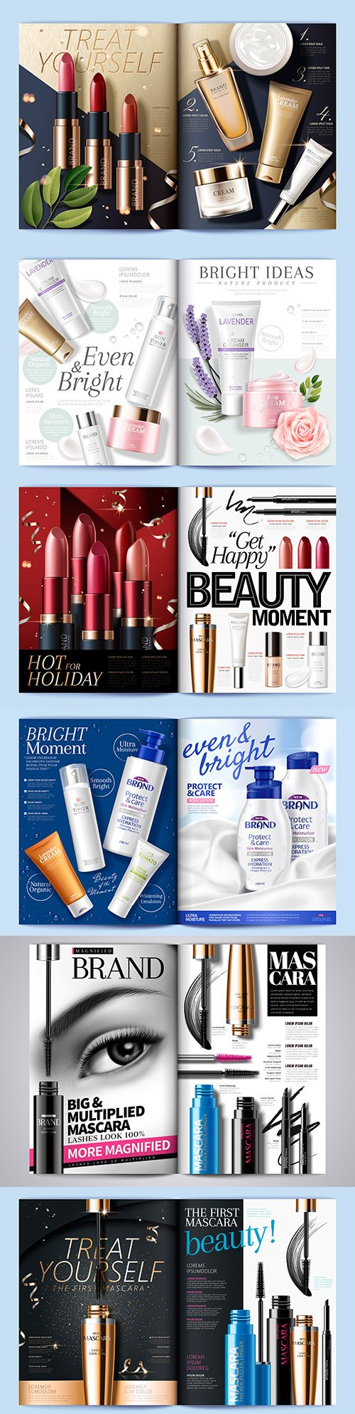 Illustration of cosmetic fashion magazine skin care template