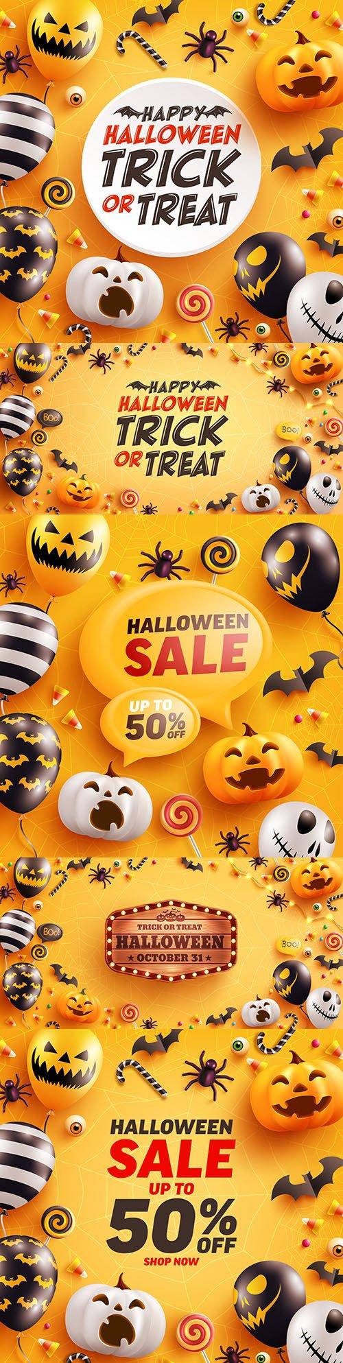 Halloween card with cute pumpkin, bat and candy
