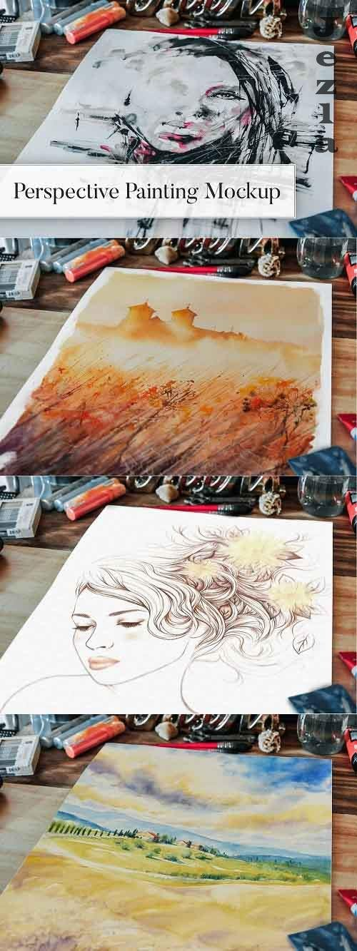 CreativeMarket - Perspective Painting Mockup 5005483