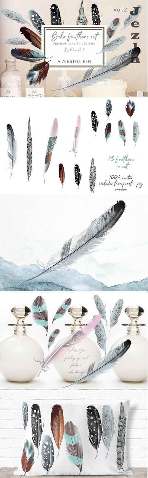Bohemian mood vector feathers set - 971977
