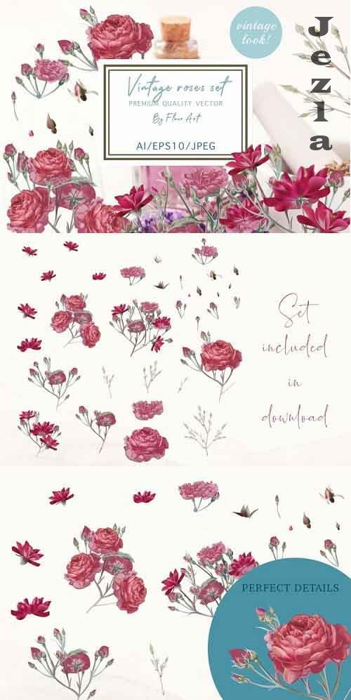 Pretty rose vector clipart set - 974460