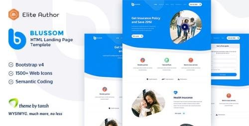 ThemeForest - Blussom v1.0 - Insurance Service Landing Page Template (Update: 18 October 20) - 25346110