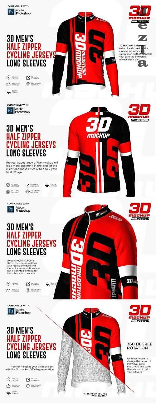 CreativeMarket - 3D Men's Halfzipper Cycling Jersey 5269750