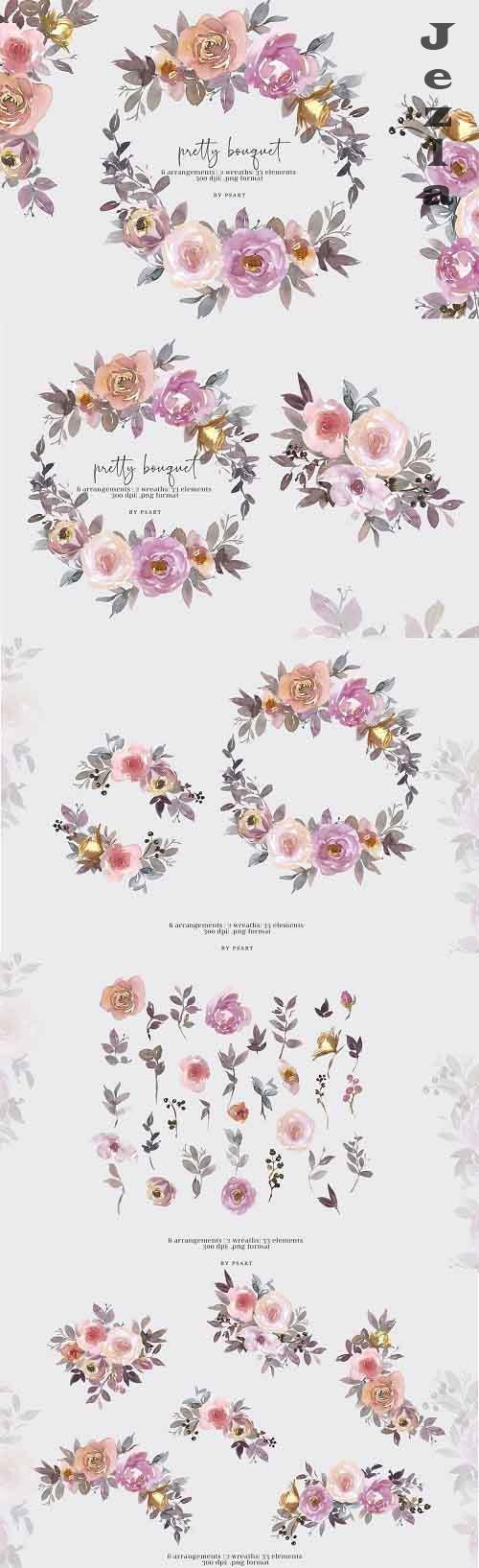 Pretty Bouquet Watercolor Clipart Set - 5500415