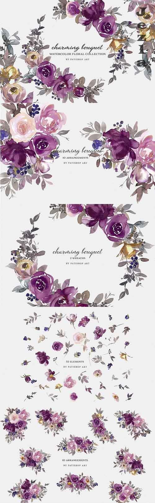 Watercolor Floral Clipart Set - 5496541