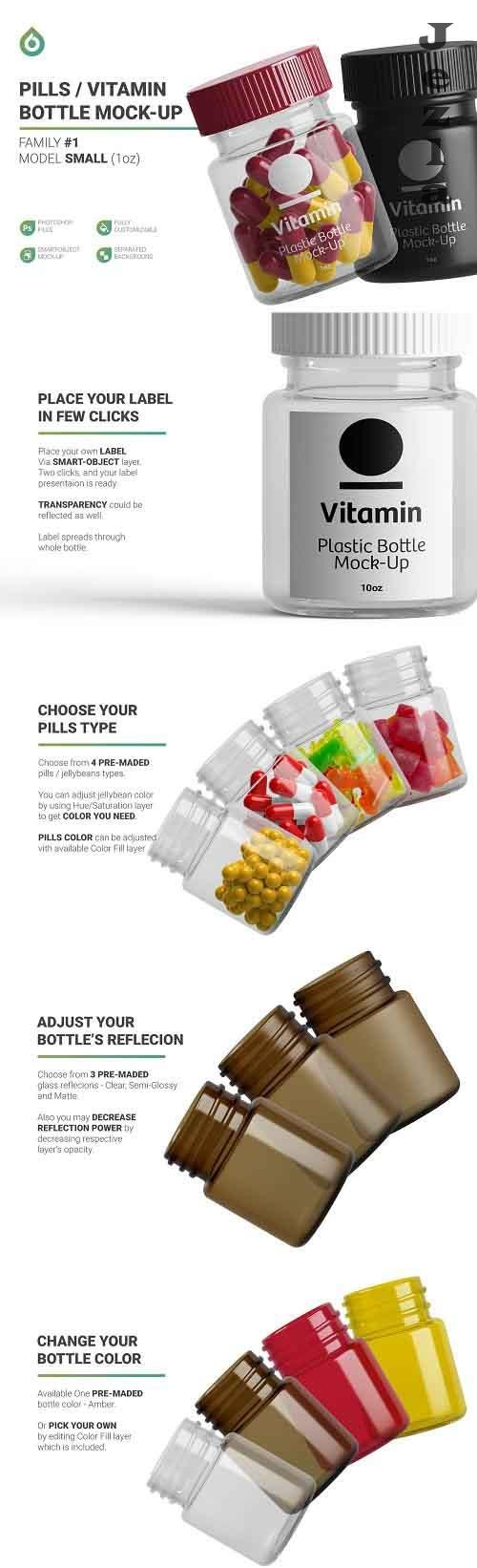 CreativeMarket - Vitamins Bottle Mockup 5263320
